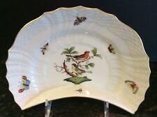 ANTIQUE HAND PAINTED HEREND ROTHSCHILD BIRD CRESCENT SALAD PLATE CROWN MARK