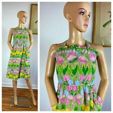 Vintage 60s Ruffled Floral Button Back Beach Sundress Novelty Tulips Dress S