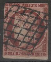 "FRANCE STAMP TIMBRE N° 6 d "" CERES 1F CARMIN CERISE 1853 "" OBLITERE A VOIR K512"