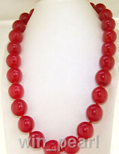 """Beautiful Huge 14mm Natural Red Jade Round Beads Gemstone Necklace 18"""" AAA"""