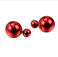 HEFR31-A1 fancy pretty chinese big small red color  bead earrings studs