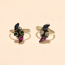 Sterling Silver Women Fine Jewelry Aa African Emerald Ruby Sapphire Toe Ring 925