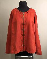 Cato Womens Zippered Front Cropped Jacket Blazer Rust Metal Studs Plus Sz 22/24W
