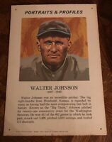 "WALTER JOHNSON 1970 Portraits & Profiles Display Cards FORTE 13 1/2 "" X 19 1/2"""