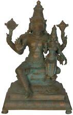 "JAI Varaha Avatar Vishnu & Lakshmi GOD Statue 16.6"" Vintage Bronze Figure 15.7KG"