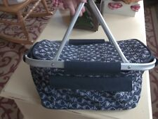 Navy Blue and White Fish Patterned Insulated Deep Food Carry Picnic Bag
