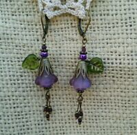 Vintage Antique Victorian Style Earrings Glass Purple AB Flower Leaf Dangle Drop