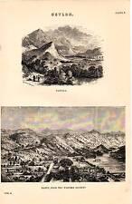 1868 PRINT ~ CEYLON ~ BADULLA KANDY FROM THE WESTERN REDOUBT