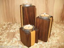 Teelichthalter Nussbaum Ahorn Nussbaum 3er Set, Kerzenhalter, Kerzenständer,