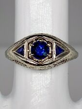 Antique 1920s $2400 1.25ct Natural Blue Sapphire 18k White Gold Filigree Ring