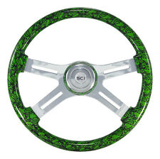 "4 Spoke 18"" Green ""Skulls"" Steering Wheel 3-Hole for Freightliner, Peterbilt, KW"
