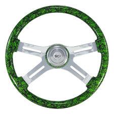 "4 Spoke 18"" Green ""Skulls"" Steering Wheel 3-Hole for Freightliner, Peterbilt, KW"