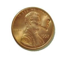 Lucky Penny - US Penny with Lincoln Smoking Cigar