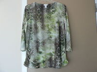 CHICO'S Green Snakeskin Print Top Blouse 3/4 Sleeves Sz 2 (12-14) Ruched Sides