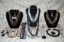 23 Piece Modern and Vintage B&W Mixed Necklace Lot - Napier, Trifari