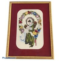 Lavender & Lace Completed Finished Cross Stitch Lady Thread Framed Wall Art