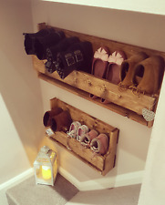 Reclaimed shabby chic wood floating wall mount shoe tidy rack