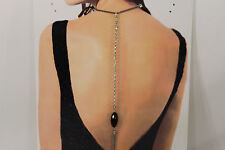 Women Silver Back Pendant Necklace Chain Fashion Jewelry Long Fringes Big Bead
