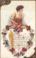 VALENTINE HOLIDAY WOMAN FAN LETTER EMBOSSED POSTCARD (c. 1909)