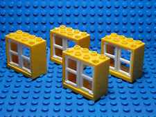 LEGOS Set of 4 NEW Yellow 2x4x3 Window Frames with 2 White 1x2x3 Panes STAR WARS