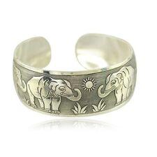 Woman Lucky Elephant Wide Bracelet Ancient Tibetan Silver Bangle Cuff Jewelry