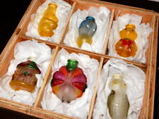 Vintage Set of (6) Old World Glass Animal Theme Light Covers in Wooden Box
