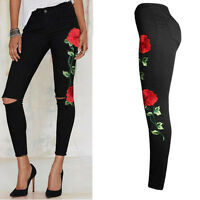Women Pants Floral Embroidered Denim Ripped Pants Stretch Jeans Pencil Trousers