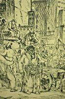 PHILIP REISMAN Antique Cityscape Market Street Scene Ink Etching Engraving Print
