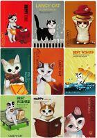 18 postcards in lot Lancy cat illustration postcrossing