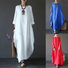 Womens Casual Loose Cotton Linen Maxi Long Dress Kaftan plus size hot Beach Maxi