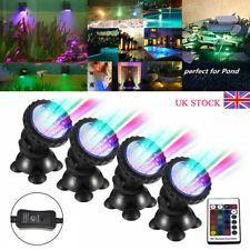 1 Set 4 Lights RGB LED Underwater Spot Light Aquarium Garden Fountain Pond Lamp