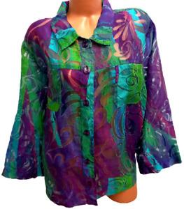 Erin purple green burnout see through pockets button down long sleeve top 3X