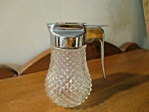 VINTAGE 1950'S CHROME TOP DIAMOND PATTERN GLASS HONEY SYRUP CONTAINER DISPENSER
