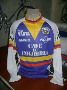 COLOMBIA BIKE JERSEY CAFE RETRO BIKES SHIRT SIZE L COOL COLUMBIAN JERSEY LONG SL