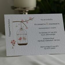 50 Personalised Engagement Invitations with envelope - birdcage