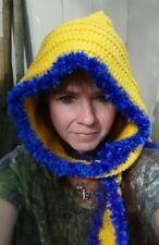 crochet hooded scarf hat wrap neck warmer winter fashion handmade yellow blue