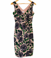 UNTOLD Size 8 UK Empire Elegant Rose Print Pencil Sheath Dress