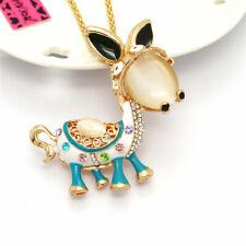 eye Pendant Betsey Johnson Chain Necklace Cute Blue Enamel Donkey Crystal Cat's