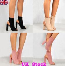 UK Women Block High Heels Pumps Peep Toe Side Zipper Ankle Boots Lady Shoes Size