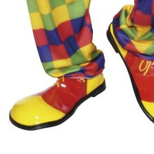 Adult Fancy Dress Clown Shoes Jumbo Clown Shoes Red/Yellow New by Smifys