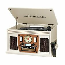 Victrola 8-in-1 Real Wood Turntable with CD, USB & Bluetooth - White Color