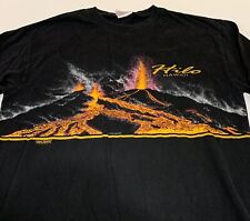 Vtg Hilo Hawaii Volcano Long Sleeve Graphic T Shirt Mens Large 80's Double Sided