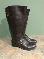 LIFE STRIDE WOMEN'S BROWN FAUX LEATHER SIDE ZIP WIDE CALF SUDDEN BOOTS SIZE 8.5