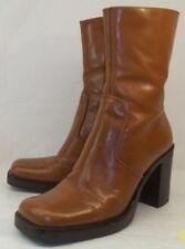Diba RONDA 8862 Womens US 7 M Brown Leather Zip-Up Casual Heel Ankle Boots 1818
