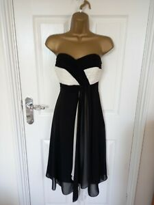"""Debut  Size UK-14 Lined strapless Chiffon dress in Black/White BUST 38"""""""