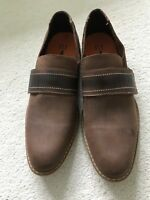 FLY London Men Loafer in Dark Brown with Square Toe  - size 10.5 / 45