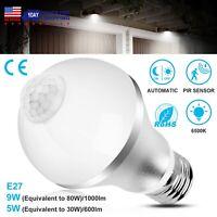 E27 Indoor/Outdoor Motion Sensor Light Bulb Auto On/Off LED Dusk to Dawn 9W 5W