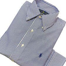 """Ralph Lauren Mens Shirt Dress Blue & White Stripe Long Sleeve 14.5"""" Easy Care"""