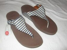 FITFLOP NEW The Skinny Blue Stripe 550-003 Thong Sandals Womens Sz 11 US 43 EU