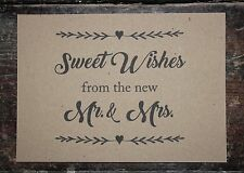 SWEET WISHES FROM THE NEW MR & MRS SIGN-A5 KRAFT CARD-WEDDING-CANDY BAR-DESSERT